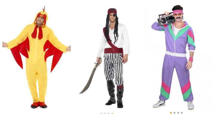 polterabend-mænd-udklædning-kostume-80-neon-kylling-pirat